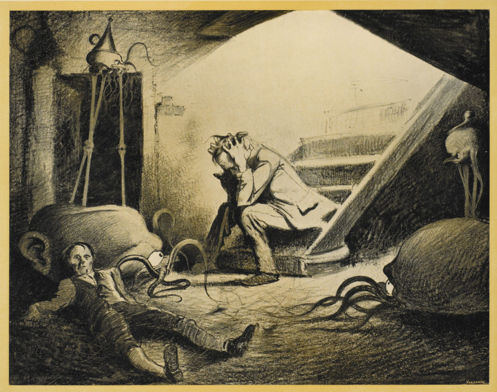 "Illustration by Henrique Alvim Corrêa, from the 1906 Belgium (French language) edition of H.G. Wells' ""The War of the Worlds"", 1906. A scan from the book."
