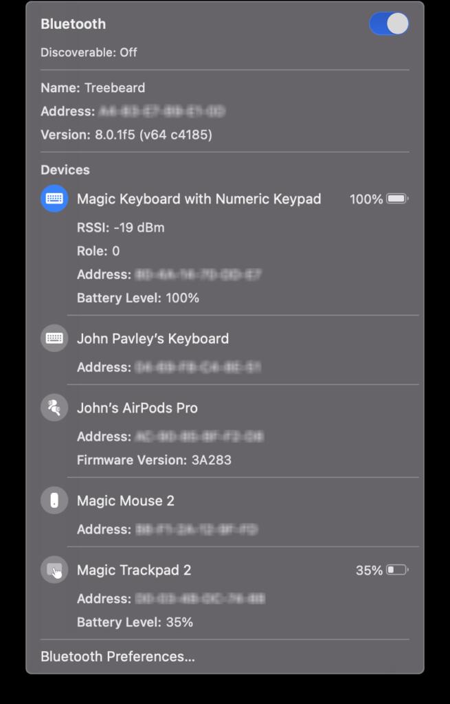 macOS Big Sur Bluetooth icon option click  menu.