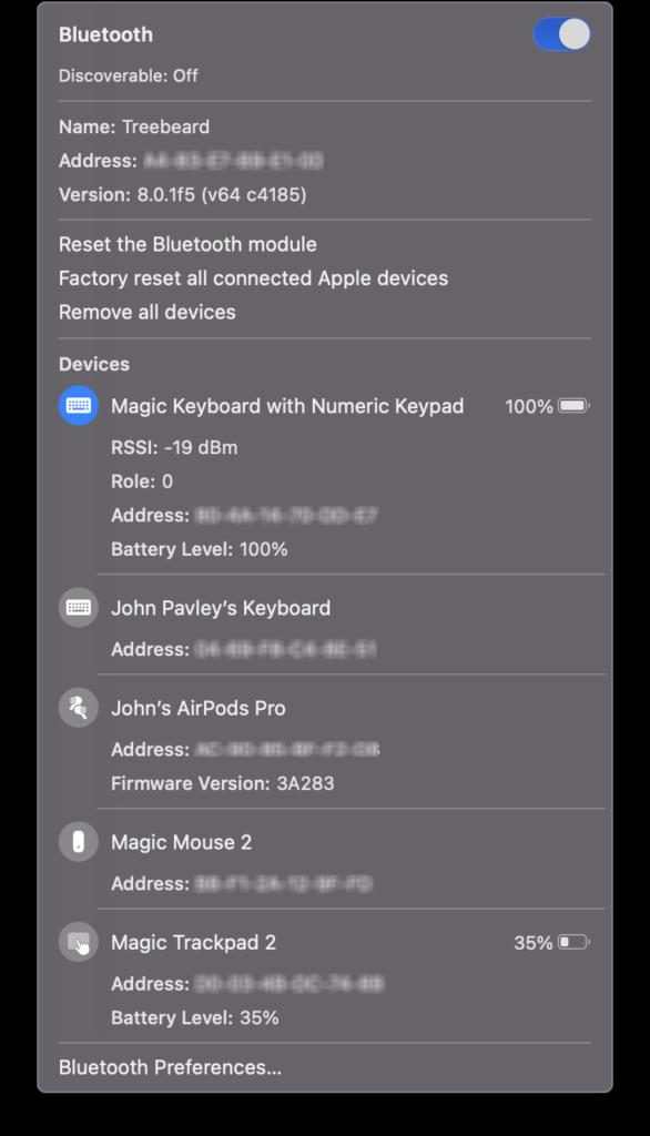 macOS Big Sur Bluetooth icon option-shift click  menu.